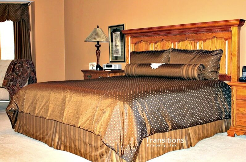 Bedding with pillows, drapes, valance and skirt
