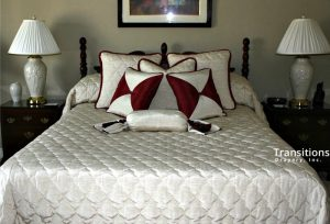 Bedding quilted with matching pillows