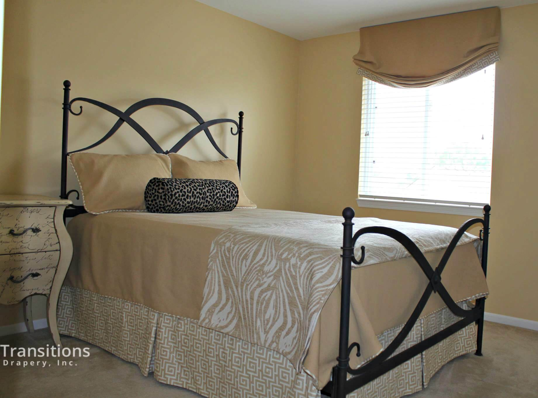 Bedding with skirt, pillows and valance