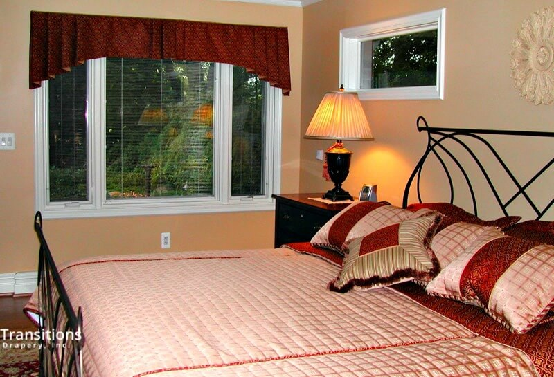 Bedding valance and pillows