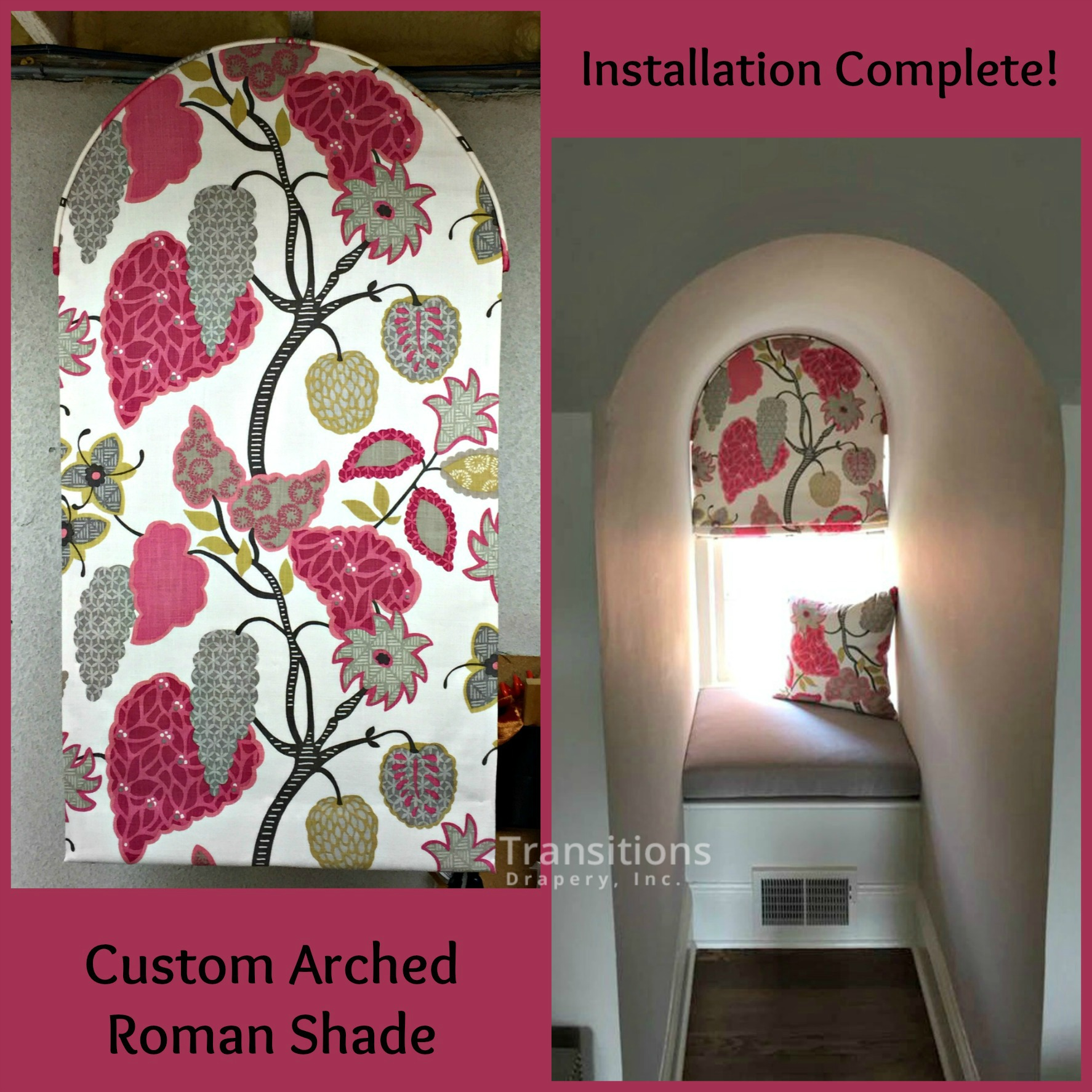 Arched roman shade and pillow