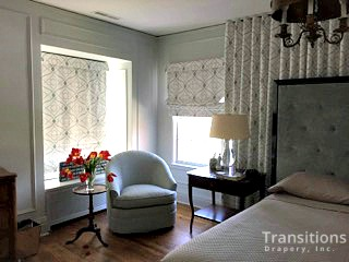 Drapes Large wall shades and bedding corner view close