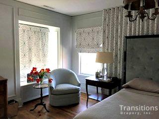 Drapes Large wall shades and bedding corner view close