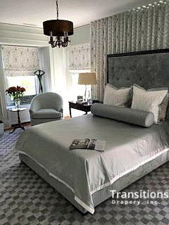 Drapes Large wall shades and bedding corner view