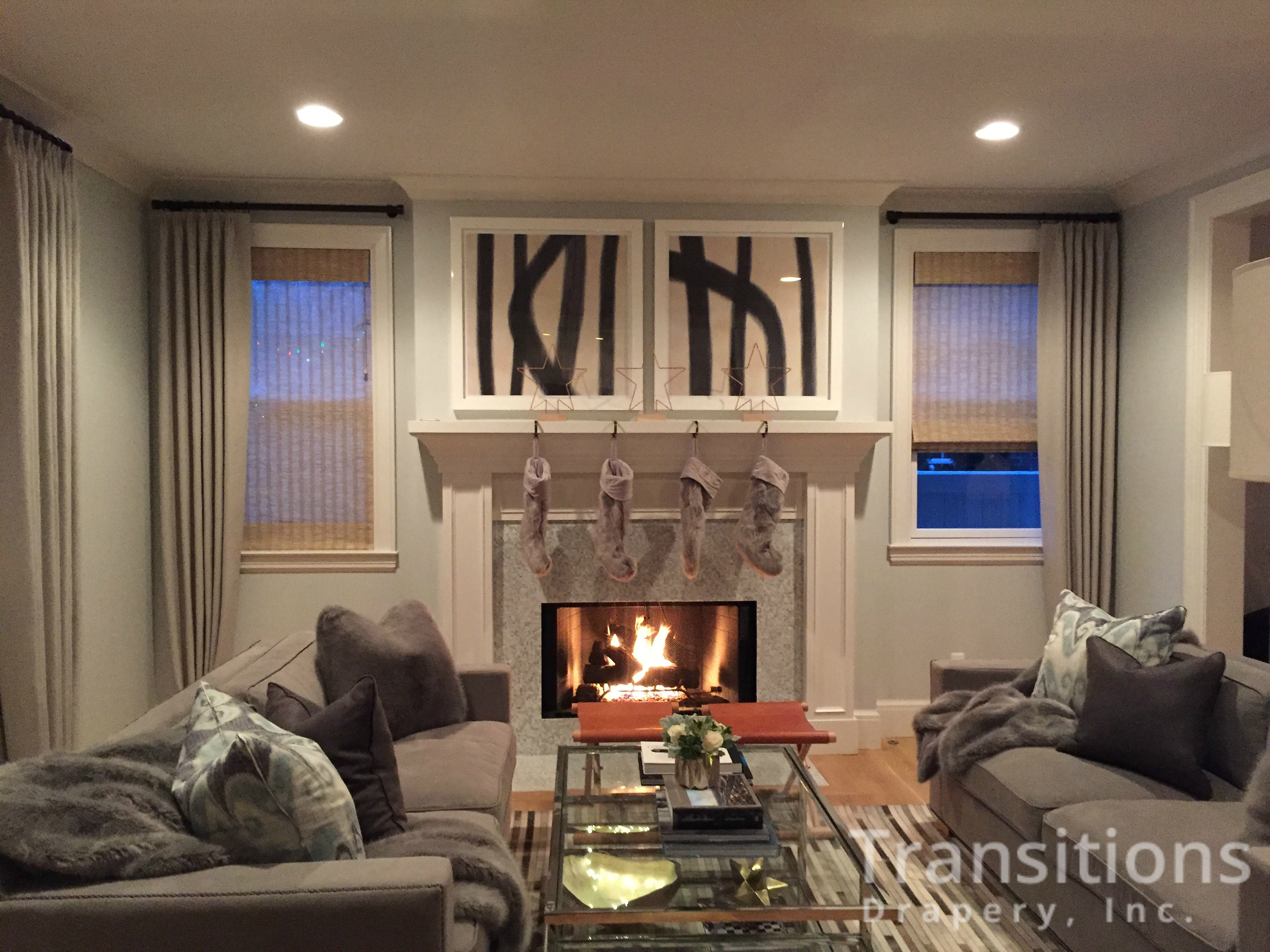 Nuetral Living Room Drapes Shade Fireplace