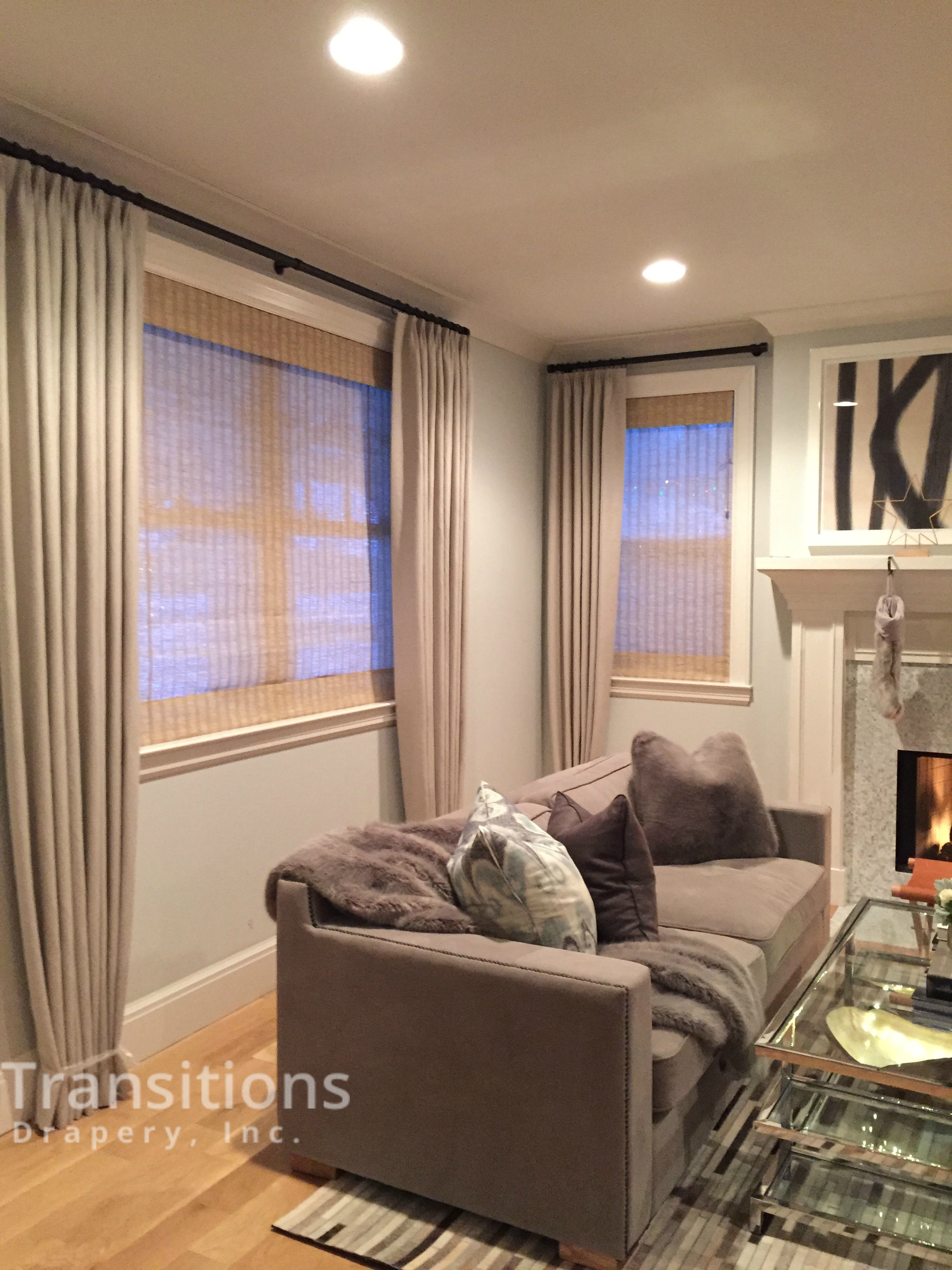 Nuetral Living Room Side view drapes and shades