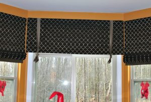 Roman Shades and Faux Roman Shade valance with ties