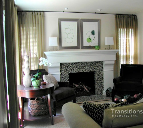 Sheers transitional family room