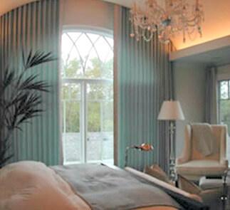 Bedroom large window drapes