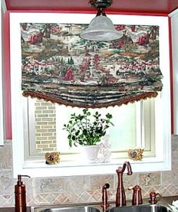 Roman shade over sink