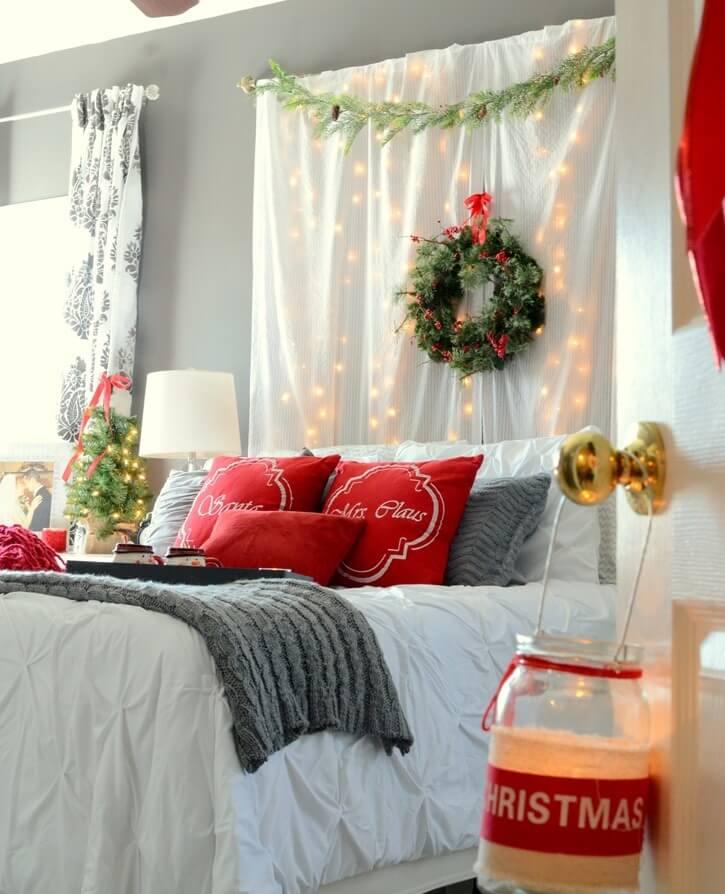 Bedroom curtain wall holiday lights