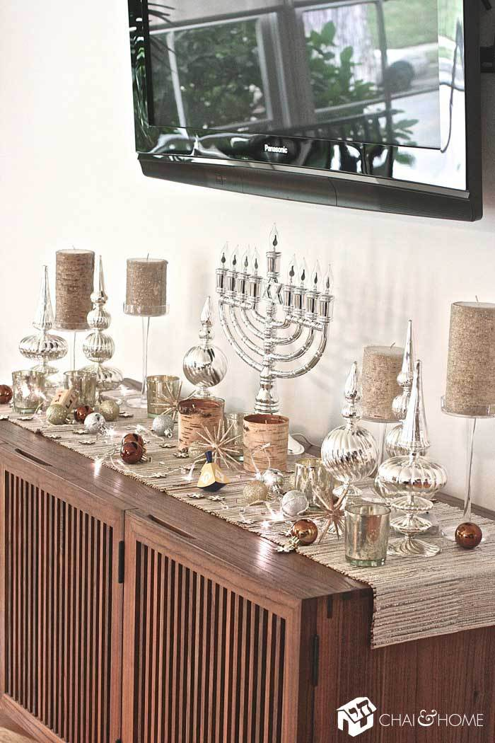 Menorah decor with holiday lights