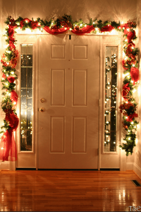 holiday lights around inside of door