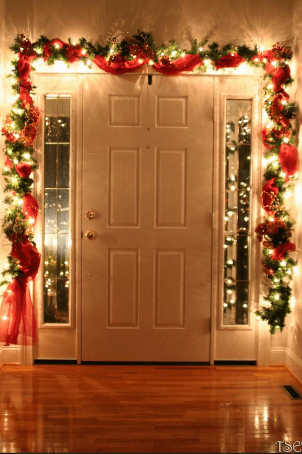 holiday lights around inside of door