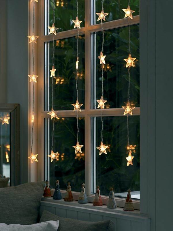 Star holiday lights in window