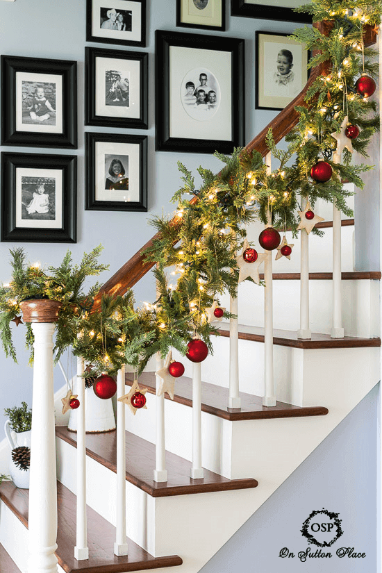 Holiday lights garland staircase banister
