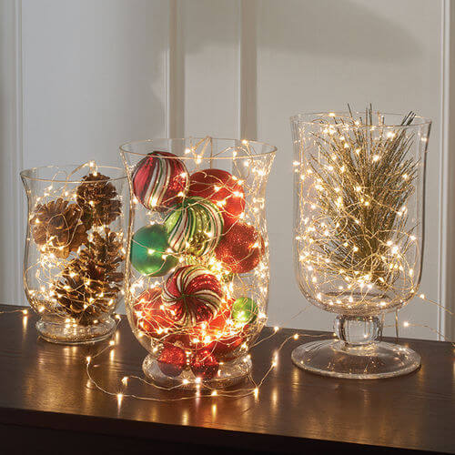Micro holiday lights in vases