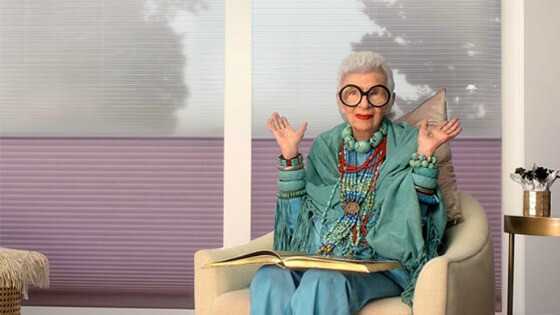 iris apfel for Hunter Douglas Home interior design