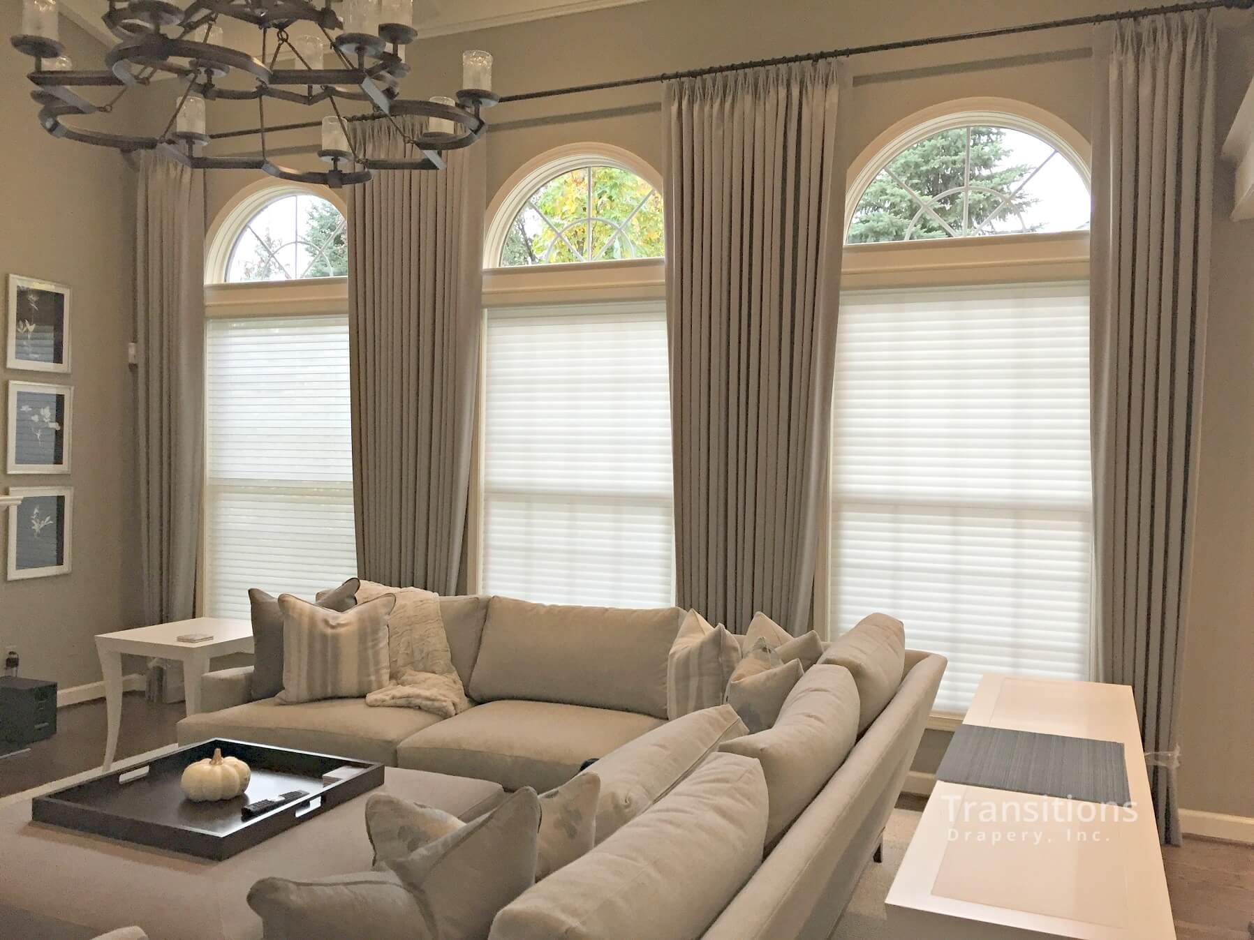 custom made draperies for cream colored family room
