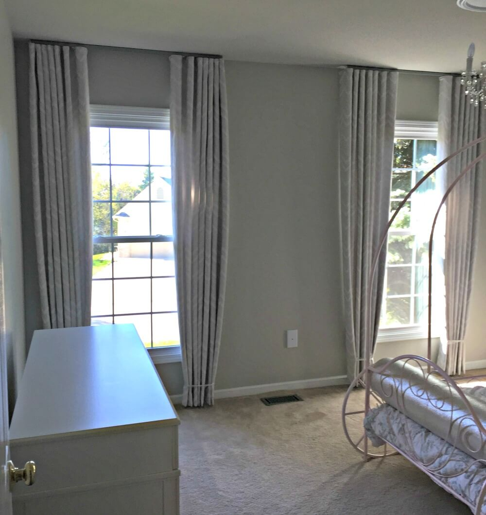 floor to ceiling pleated bedroom drapes