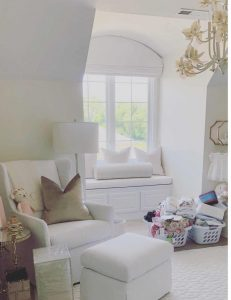 Nursery window seat, roman shades and pillows