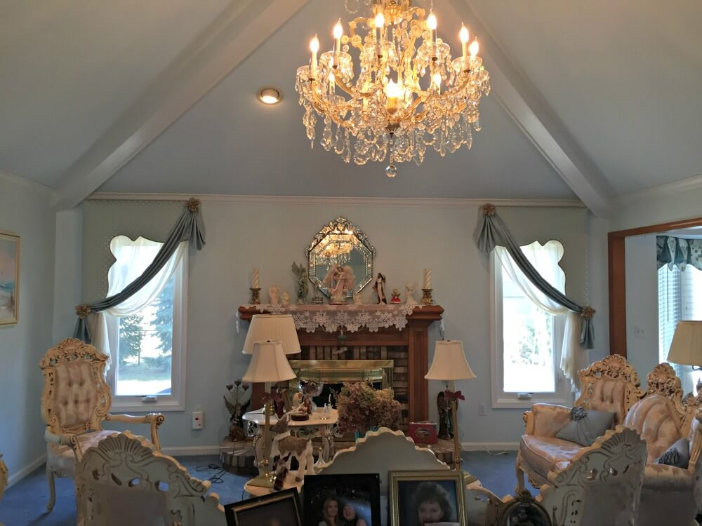 custom made side cornices with swags and curtains