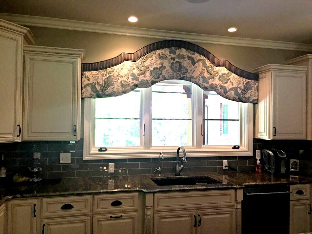 custom made cornice over kitchen window