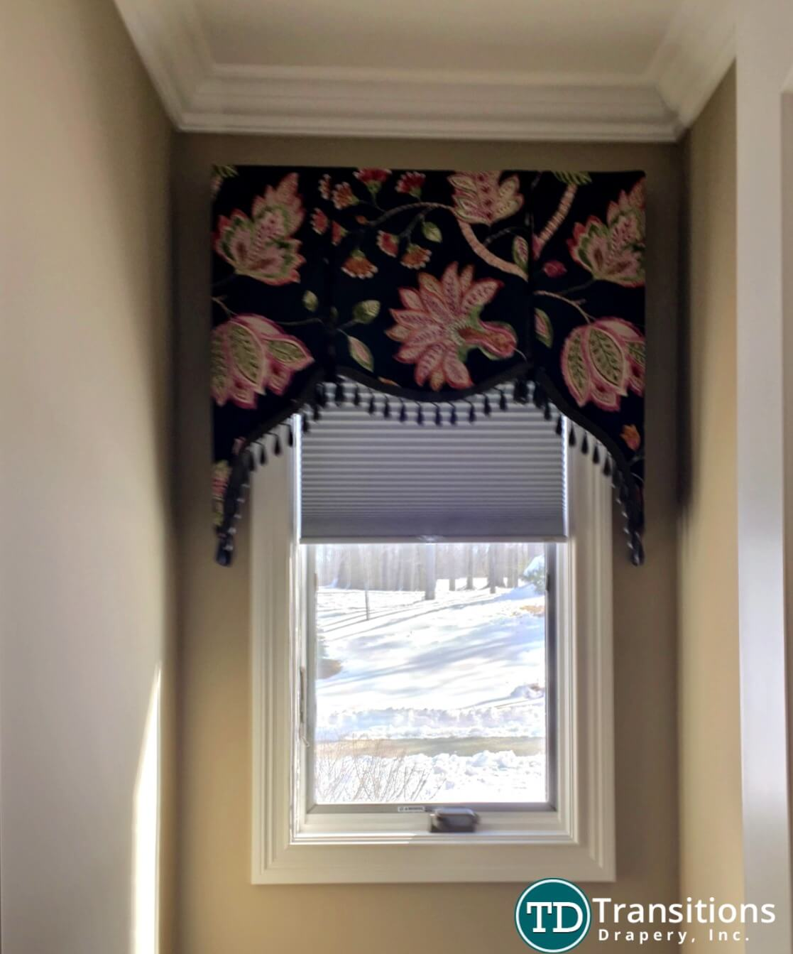 custom made scalloped valance with tassels