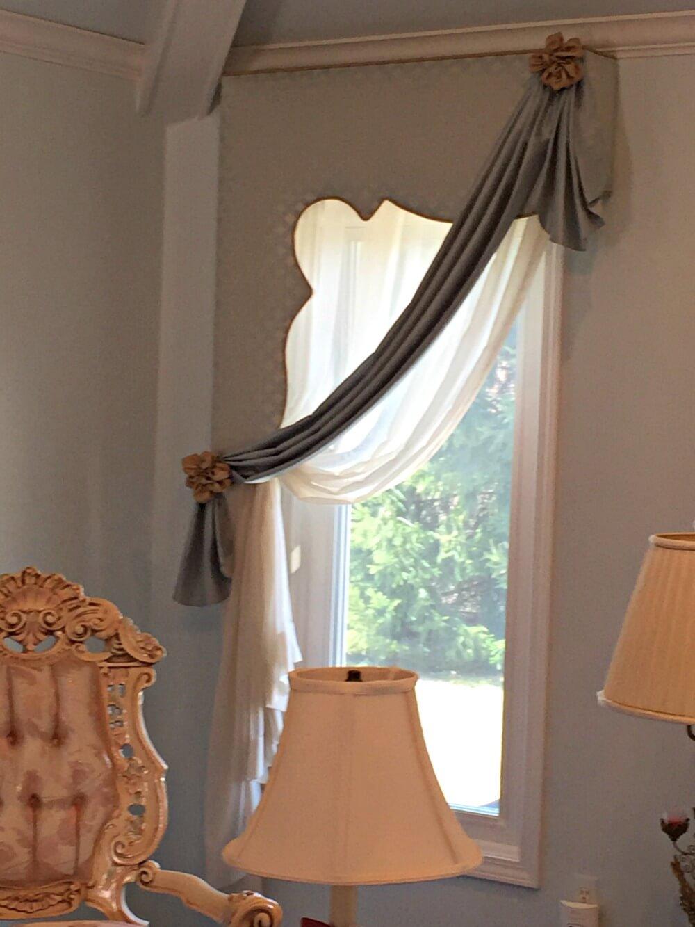 custom made cornice and swag valance with curtain