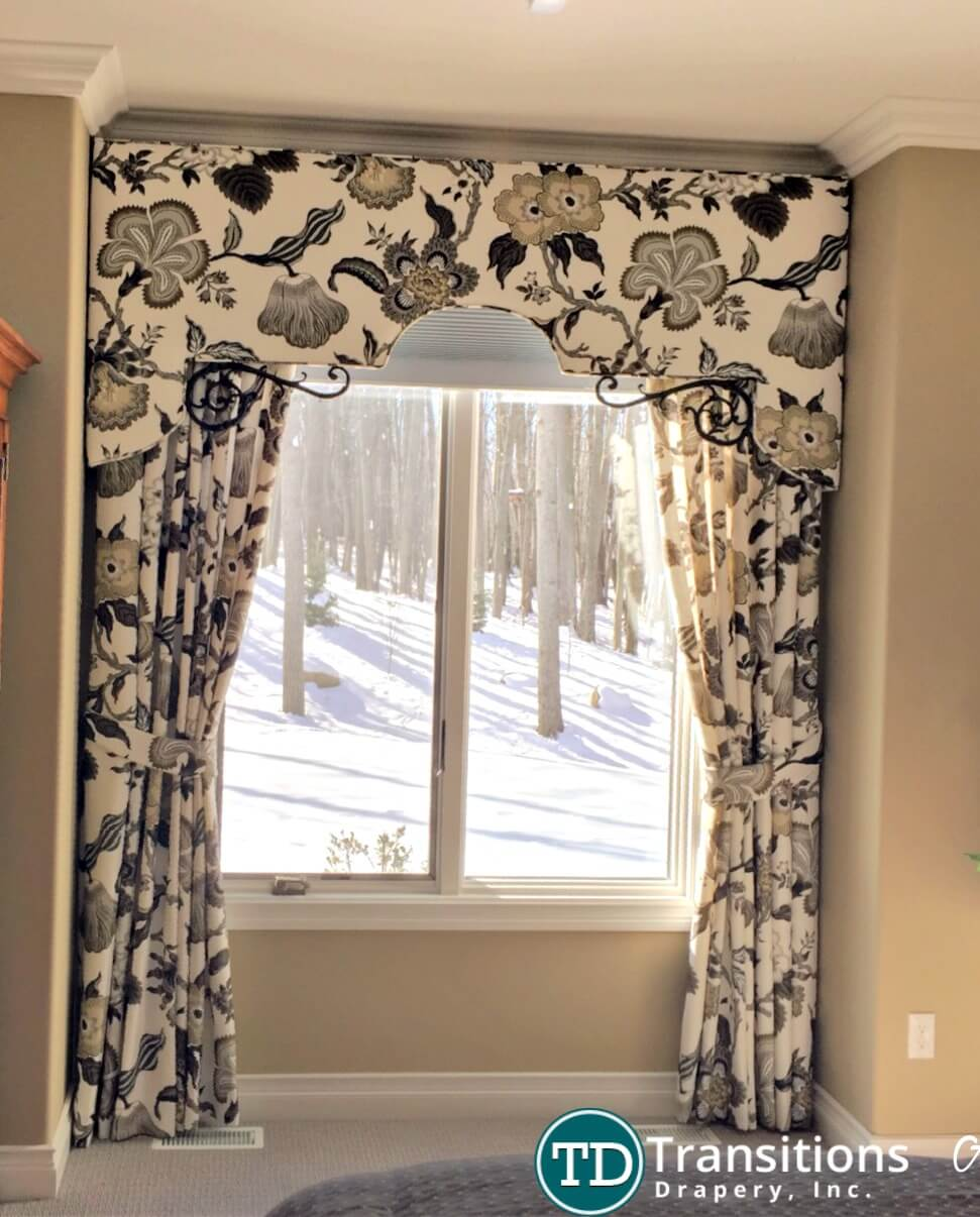 custom made draperies with valance and hardware