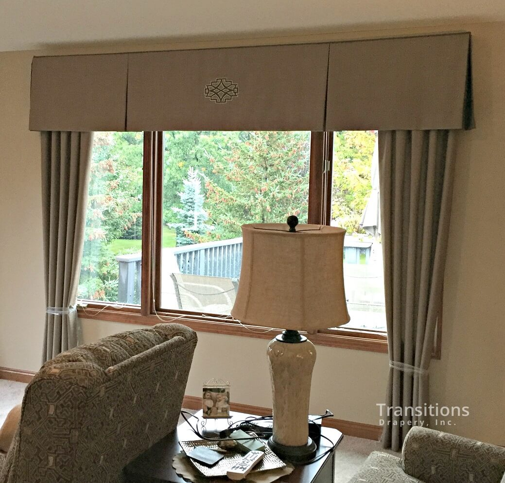 custom made drapes for large window with matching valance