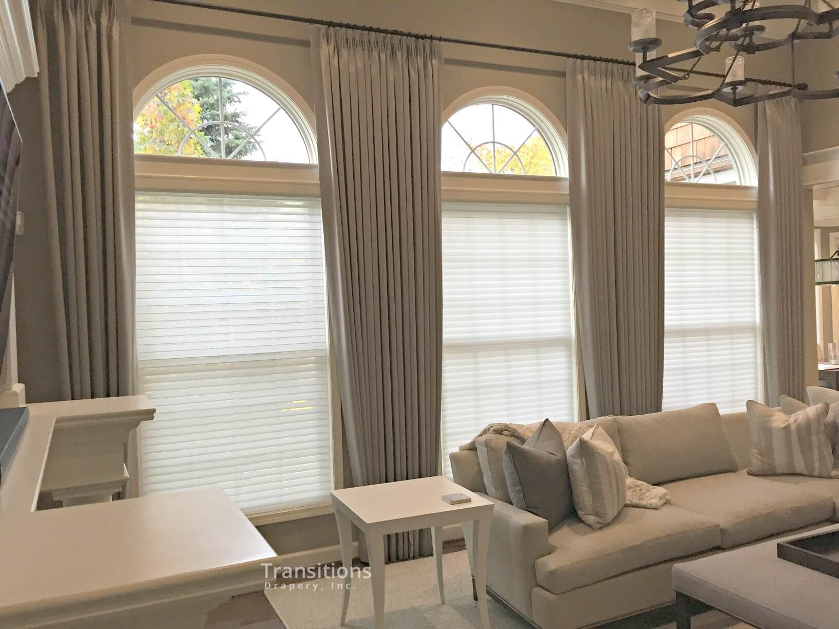 custom made drapes for transitional great room