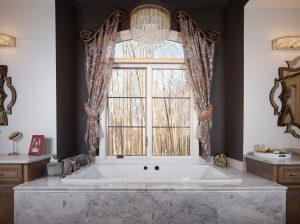 Bathroom tub side panel sheer curtains