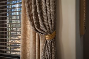 Drapery and window blinds side panels with fabric tiebacks