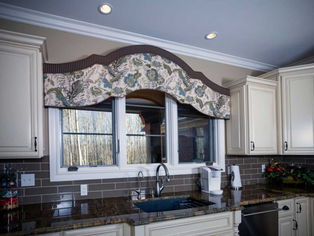 custom cornice over kitchen window