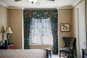 Custom drapes and valance for bedroom