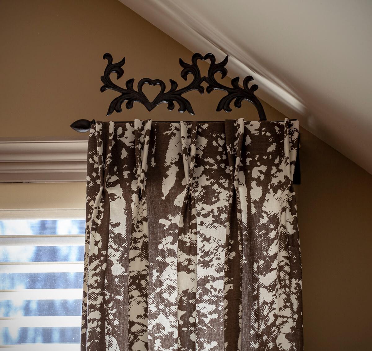 Decorative drapery rods curtain rod hardware side panel