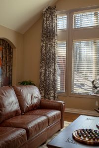Great room custom side panels drapes and blinds
